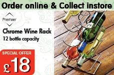 Wine Rack Chrome. Capacity 12 Bottles – Now Only £18.00