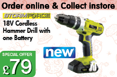 Cordless Hammer Drill with one 18V 1.5AH Li-ion Battery – Now Only £79.00