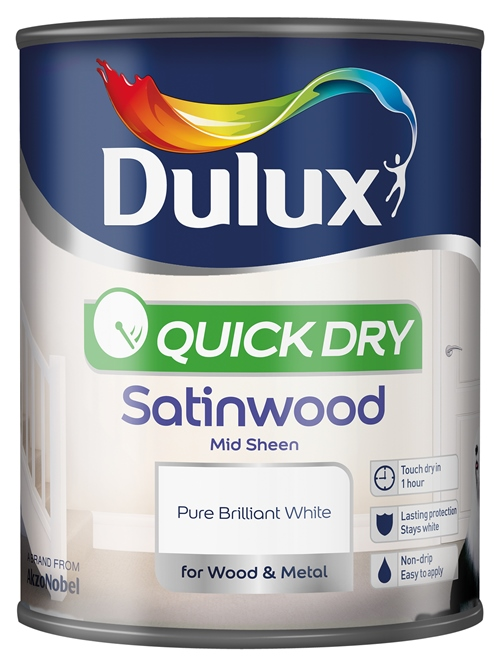 Quick Dry Satinwood 750ml Pure Brilliant White – Now Only £10.00