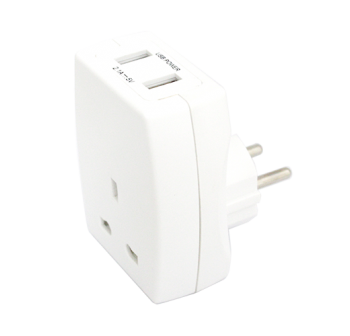 UK to EU Plug Adaptor USB Ports 2.1A – Now Only £8.00