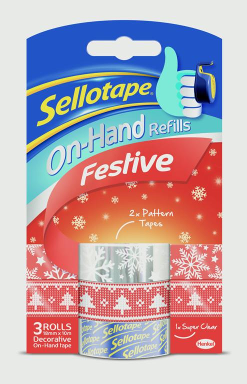 Occasions Festive Tape on Hand Refills 18mm x 10m – Now Only £2.00