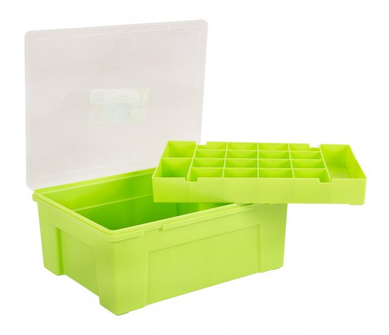 Organiser Box 38cm with 19 Division Removable Tray  - Lime and clear – Now Only £7.00