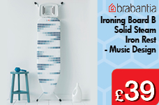 Ironing Board B 124 x 38cm Solid Steam Iron Rest Music Design – Now Only £39.00