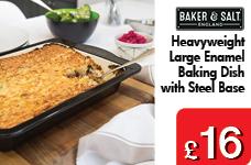 30CM Baking dish Enamel Heavy Weight Base Steel – Now Only £16.00