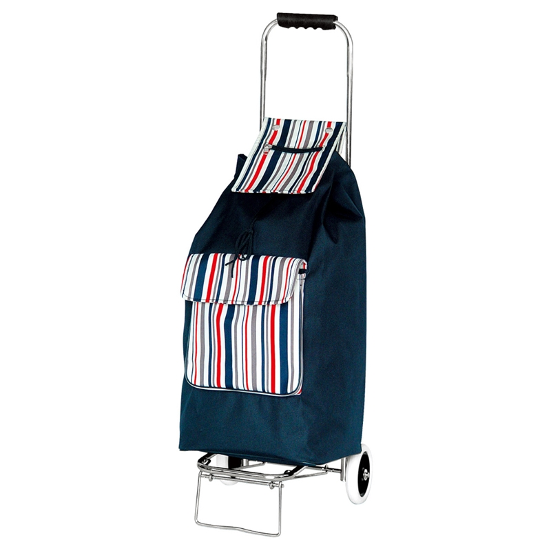 Clarence 2 Wheel Shopping Trolley With Navy Blue Stripes – Now Only £15.00