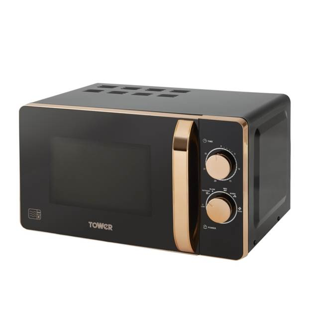 20L Manual Microwave in Black and Rose Gold Accents - 800w – Now Only £69.00