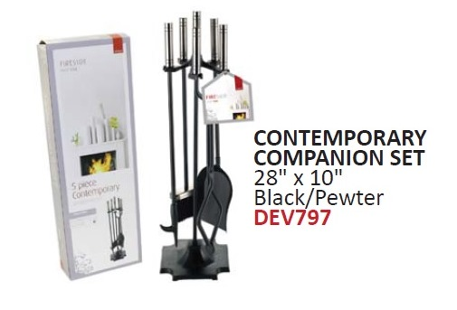 Contemporary Companion Set - Black and Pewter – Now Only £30.00