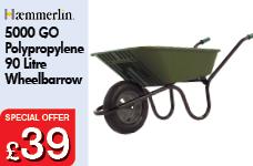 5000 GO Green Polypropylene 90L Pneumatic Barrow -  – Now Only £39.00