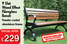 9 Slat Wood Effect Fibreglass Bench – Now Only £229.00