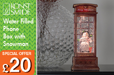NEW Water filled Phone Box Snowman Warm White LED and Timer 5 hours – Now Only £20.00