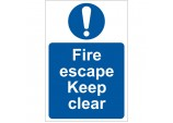 'Fire Escape Keep Clear' Mandatory Sign