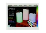 Battery Operated Colour Changing Candles - Set 3 With Remote Control