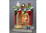 Santa Fireplace Scene Water Lantern
