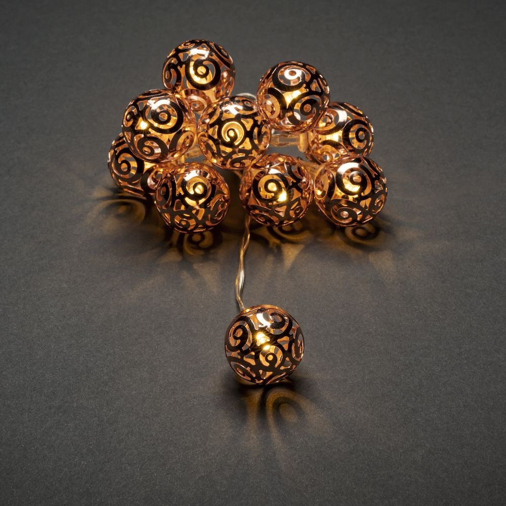 Copper Metal Ball  LED Light - Set of 10 – Now Only £5.00