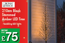 210cm Black Stemmed Amber LED Tree – Now Only £75.00