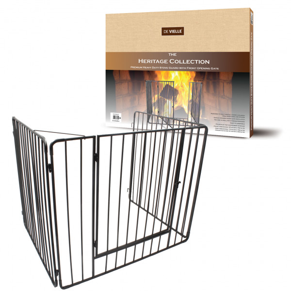 Heritage Premium Stove Guard with Gate - Black – Now Only £59.00