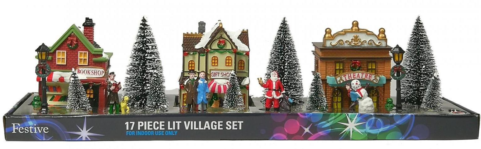 Lit Christmas Street Scene - 17 Pieces – Now Only £20.00