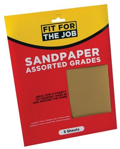 Assorted Grade Sandpaper - Pack of 5 – Now Only £1.00