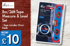 8m/26ft Tape Measure & Level Set – Now Only £10.00