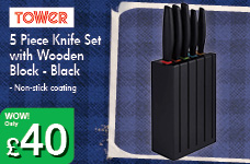 5 Piece Knife Set with Wooden Block - Black – Now Only £40.00